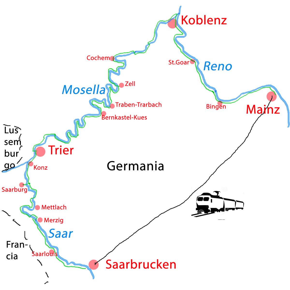 Germania Cartina Fiumi.Viaggi Familiari In Bicicletta